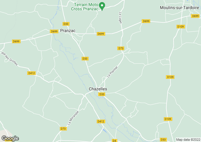 Map for chazelles, Charente, France