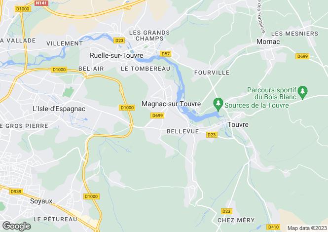 Map for magnac-sur-touvre, Charente, France
