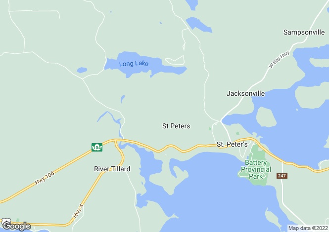 Map for St Peter`s, Nova Scotia
