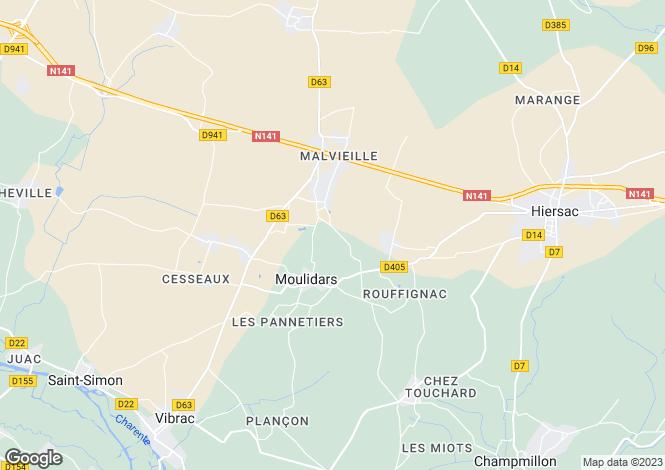 Map for Poitou-Charentes, Charente, Moulidars