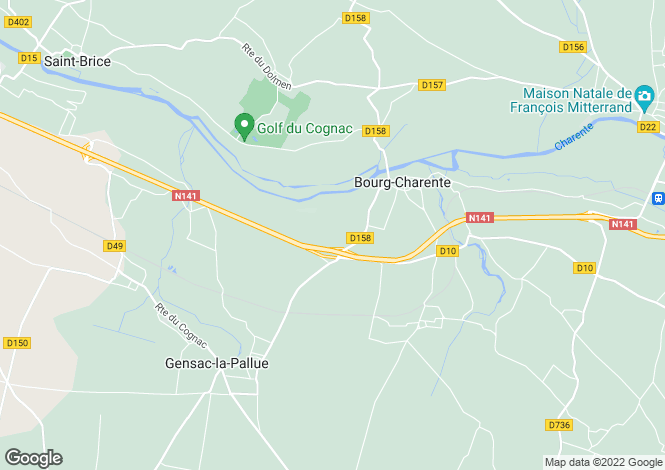 Map for bourg-charente, Charente, France
