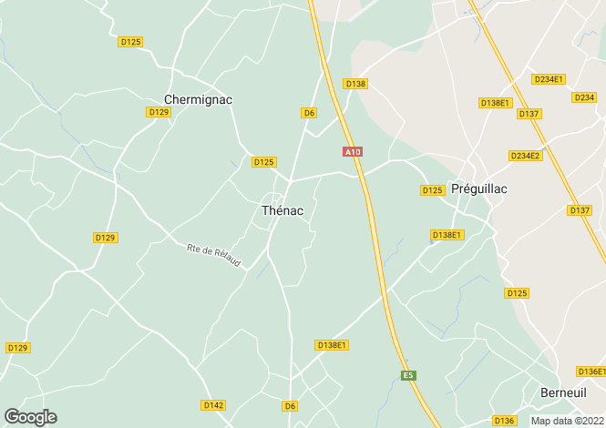 Map for thénac, Charente-Maritime, France