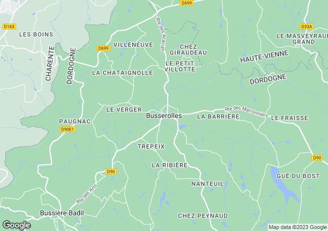 Map for Secteur: Busserolles, Dordogne
