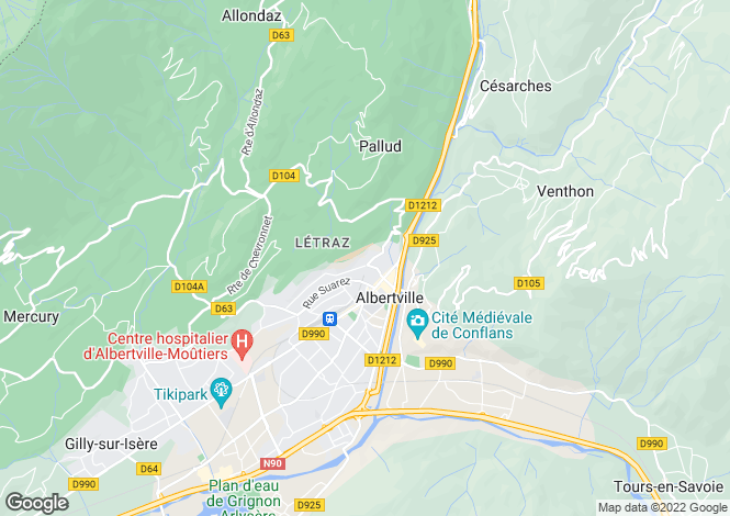 Map for Rhone Alps, Savoie, Albertville