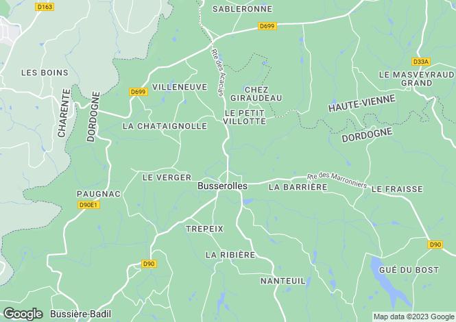 Map for Busserolles, Dordogne, 24360, France