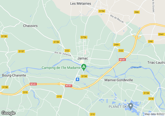 Map for Jarnac, Charente