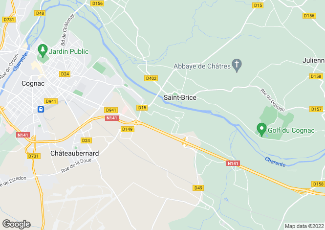Map for st-brice, Charente, France