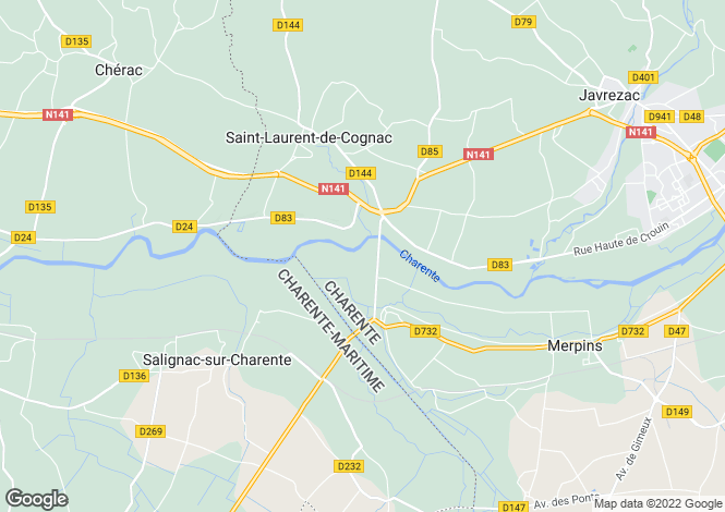Map for , Charente, France