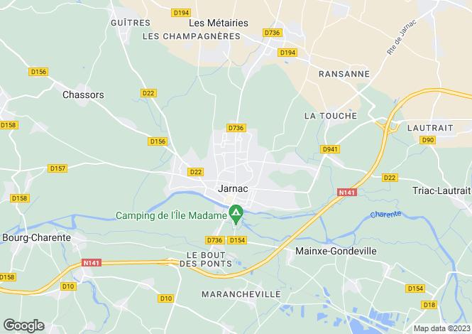 Map for Poitou-Charentes, Charente, Jarnac