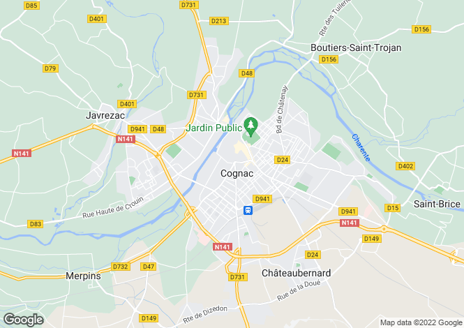 Map for cognac, Charente, France