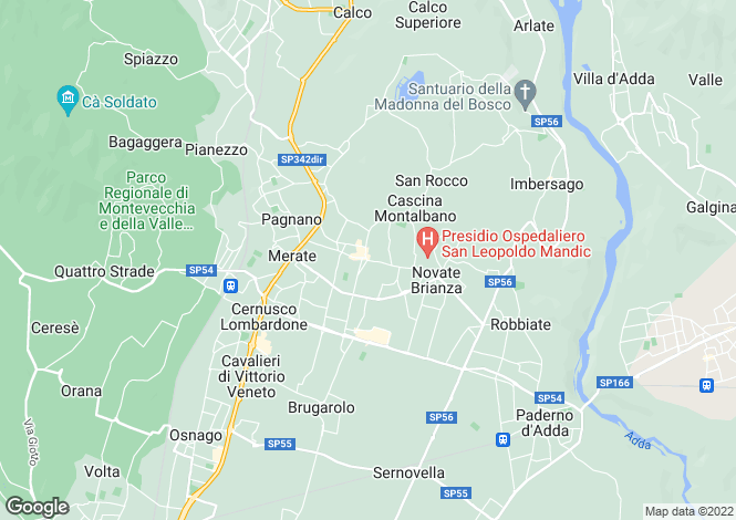 Map for Lombardy, Lecco, Merate