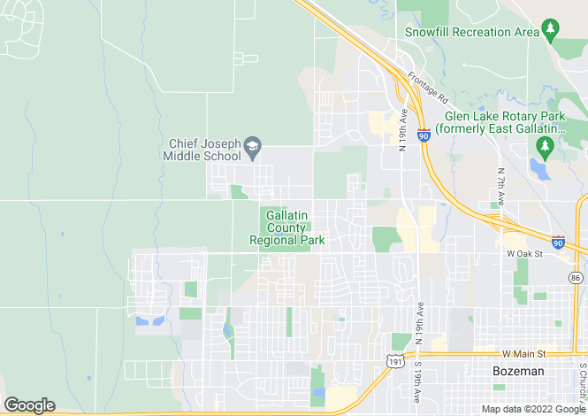 Map for Montana, Gallatin County, Bozeman