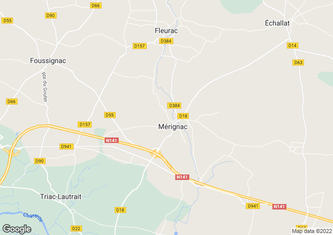 Map for merignac, Charente, France