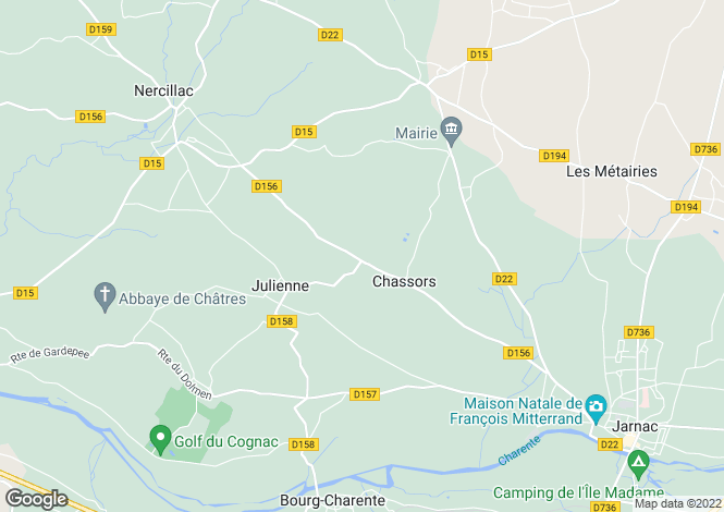 Map for chassors, Charente, France