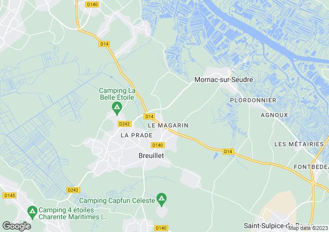 Map for breuillet, Charente-Maritime, France