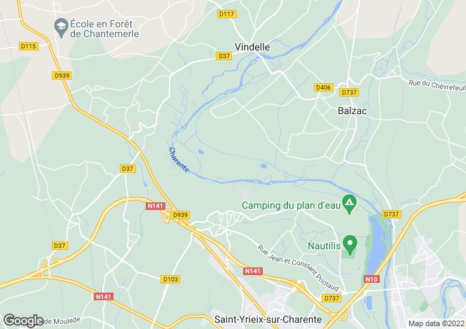 Map for balzac, Charente, France