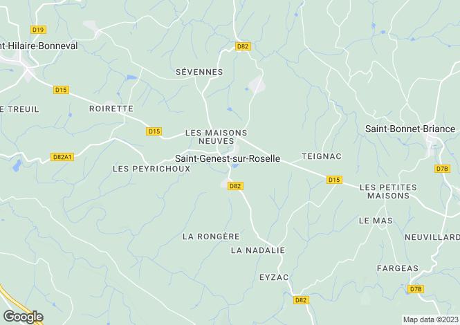 Map for st-genest-sur-roselle, Haute-Vienne, France