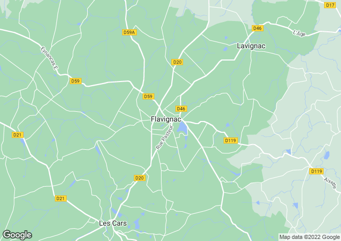 Map for flavignac, Haute-Vienne, France