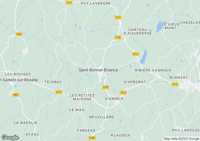 Map for Limousin, Haute-Vienne, St-Bonnet-Briance