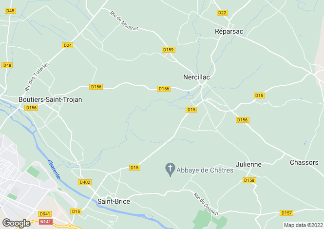 Map for nercillac, Charente, France