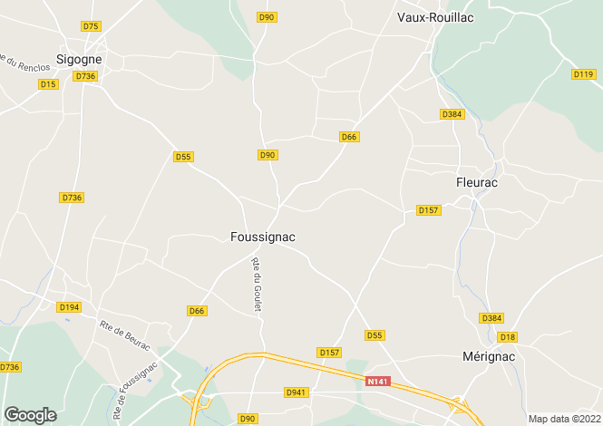 Map for foussignac, Charente, France