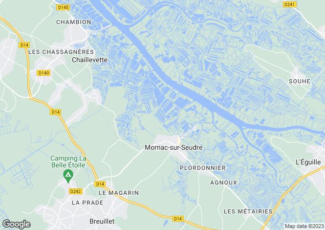 Map for Poitou-Charentes, Charente-Maritime, Mornac-sur-Seudre