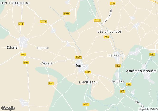 Map for douzat, Charente, France