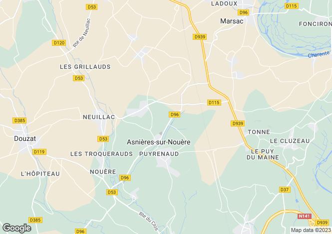 Map for asnieres-sur-nouere, Charente, France