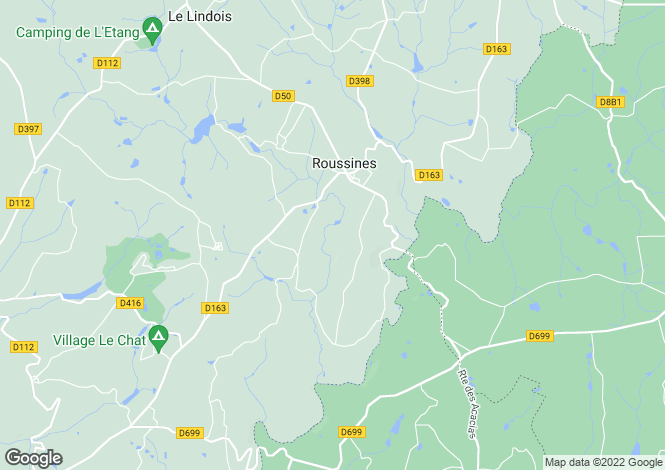 Map for roussines, Charente, France