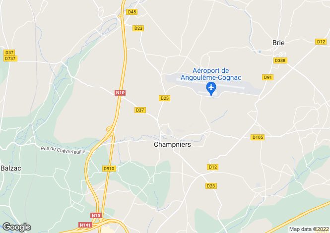 Map for champniers, Charente, France