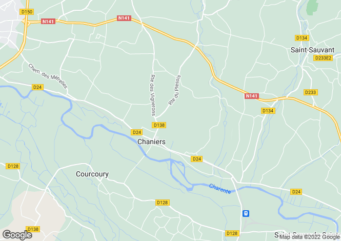 Map for chaniers, Charente-Maritime, France