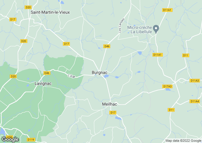 Map for burgnac, Haute-Vienne, France
