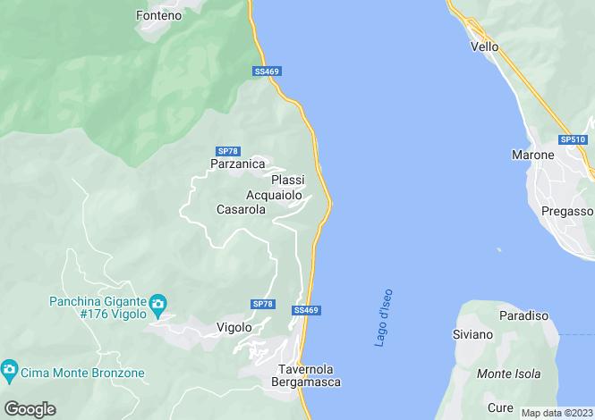 Map for Lombardy, Bergamo, Parzanica