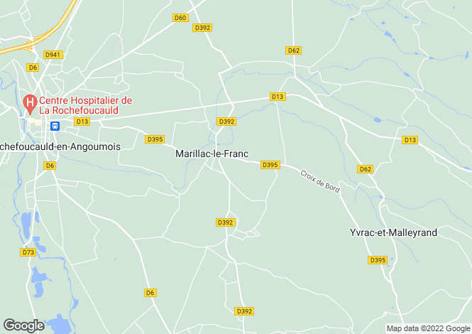 Map for marillac-le-franc, Charente, France