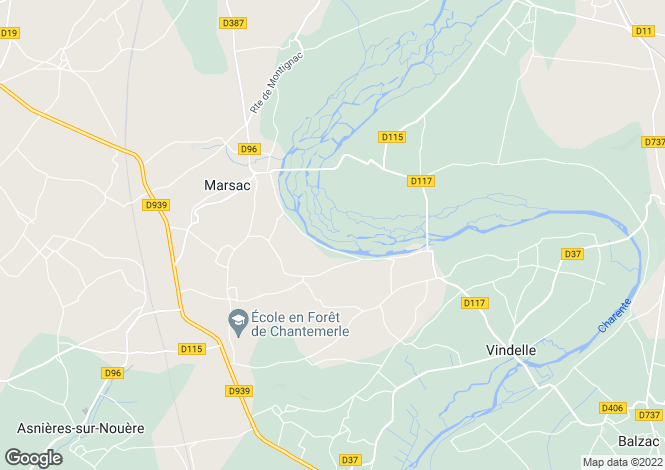 Map for charras, Charente, France