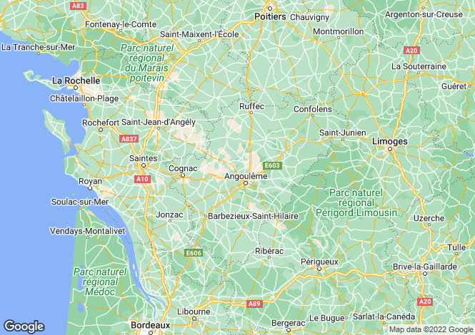 Map for roumazieres, Charente, France