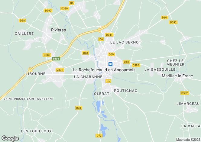 Map for Poitou-Charentes, Charente, La Rochefoucauld