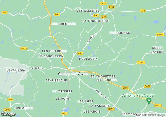 Map for Oradour Sur Vayres, Haute-Vienne, 87150, France