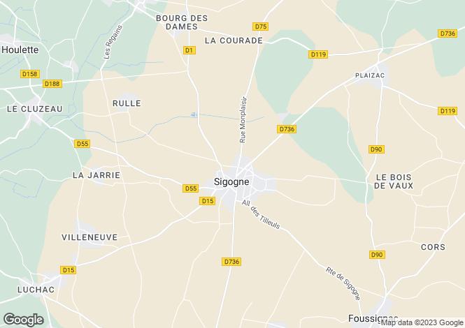 Map for sigogne, Charente, France