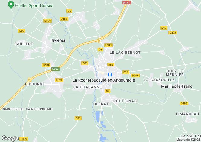 Map for La Rochefoucauld, Charente, 16110, France