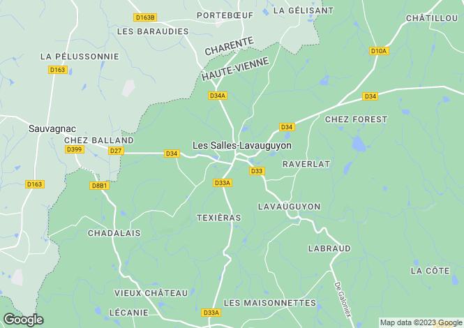 Map for Les Salles-Lavauguyon, Haute-Vienne, 87440, France
