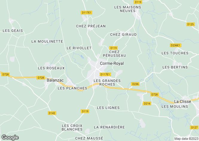 Map for Poitou-Charentes, Charente-Maritime, Corme-Royal