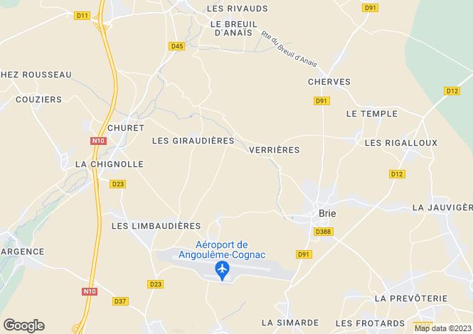 Map for Poitou-Charentes, Charente, Brie