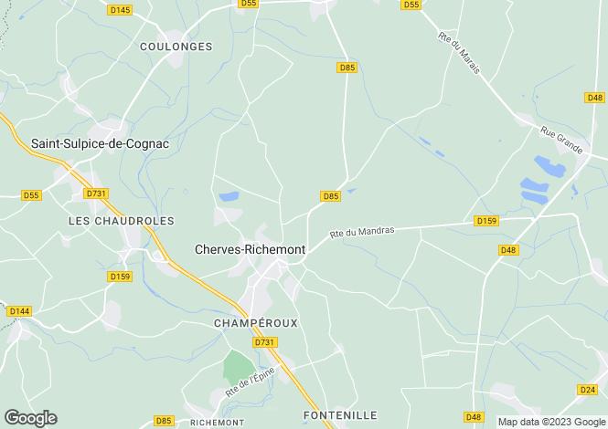 Map for cherves-richemont, Charente, France