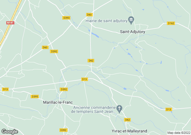 Map for yvrac-et-malleyrand, Charente, France
