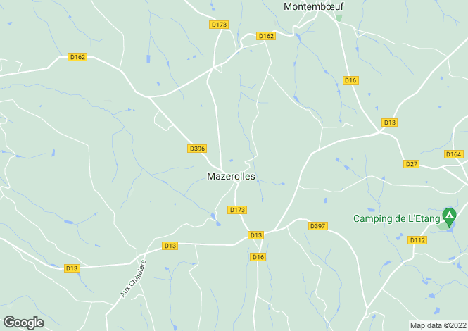 Map for mazerolles, Charente, France