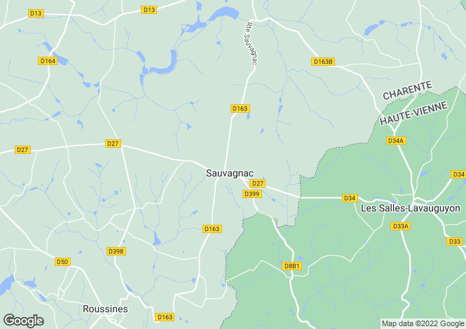Map for sauvagnac, Charente, France