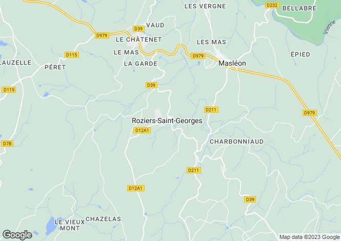 Map for Roziers-Saint-Georges, Haute-Vienne, 87130, France
