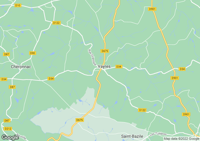 Map for vayres, Haute-Vienne, France