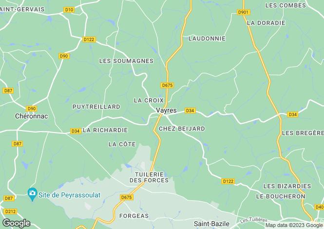 Map for Secteur: Vayres, Haute-Vienne